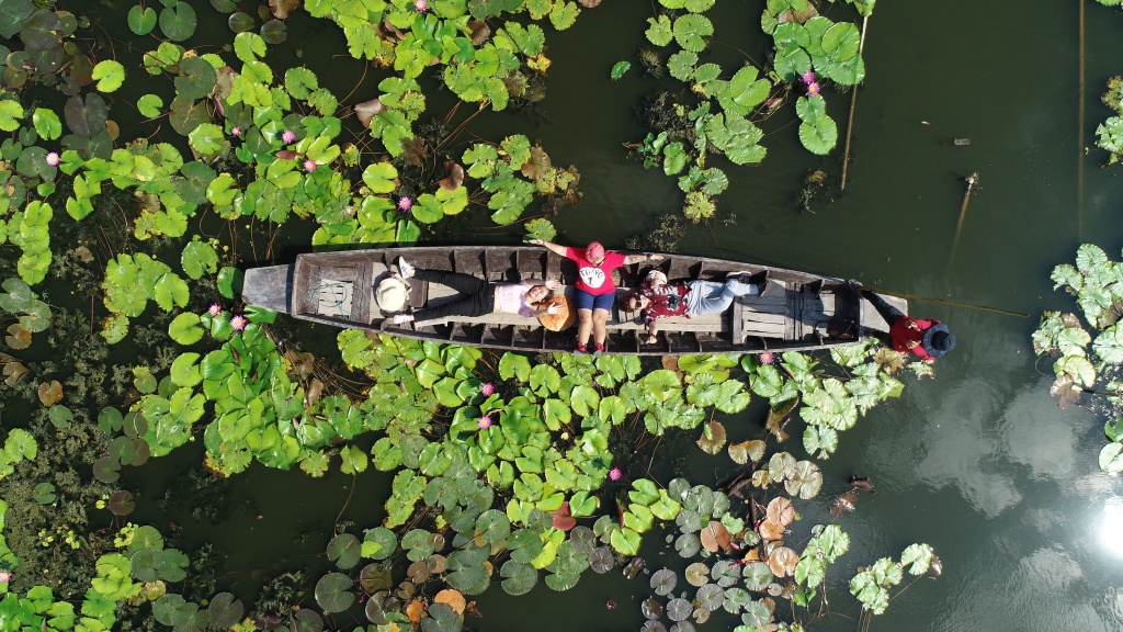 Red Lotus Floating Market,drone